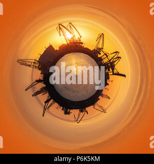 Little planet 360 degree sphere. Colorful sunset over sea port and industrial cranes, Varna, Bulgaria - Stock Photo