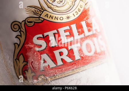 Varna,Bulgaria - May 28, 2018: Alluminium can of Stella Artois beer on white background. Stella Artois has been brewed since 1926 in Belgium. - Stock Photo