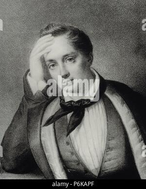 Yevgeny Baratynsky (1800-1844). Russian poet. Romanticism style. Portrait. Engraving. - Stock Photo