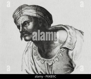 Averroes (1126-1198). Ibn Rushd. Medieval Andalusian Muslim polymath. Portrait. Engraving. - Stock Photo