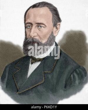 Mikhail Katkov (1818-1887). Russian journalist. Engraving by Kaeseberg, Universal History, 1885. Colored. - Stock Photo
