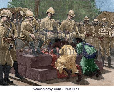Act of submission of Ashanti king Prempeh and his mother embracing the legs of British representatives, Governor Maxwell, Colonel Kempster and Sir Francis Scott, as a sign of humiliation. Engraving, 1901. Colored. - Stock Photo