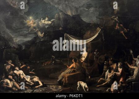 Johann Heiss (1640-1704). German painter. Phaethon's Fall, 1678. National Gallery. Prague. Czech Republic. - Stock Photo