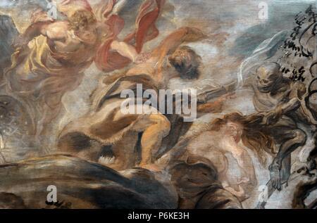 Peter Paul Rubens (1577-1640). Flemish painter. Expulsion from the Garden of Eden, 1620. National Gallery. Prague. Czech Republic. - Stock Photo