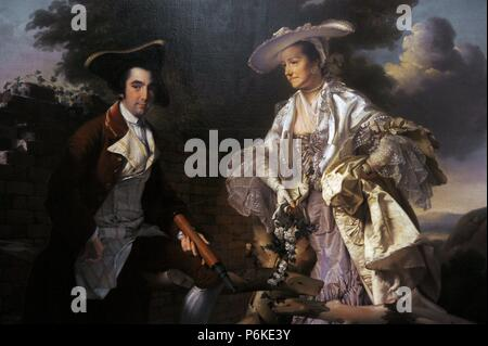 Peter Perez Burdett (c.1734-1793). English cartographer and artist. Peter Perez Burdett and his first wife Hannah, 1765, portrait by Joseph Wright of Derby (1734-1794). - Stock Photo