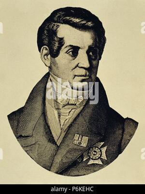 August Wilhelm von Schlegel (1767-1845). German poet, translator and critic. Portrait. engraving. - Stock Photo