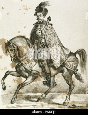 Aleksey Mikhailovich (1629-1676). Tsar of Russia (1645-1676). Equestrian portrait. Engraving. - Stock Photo