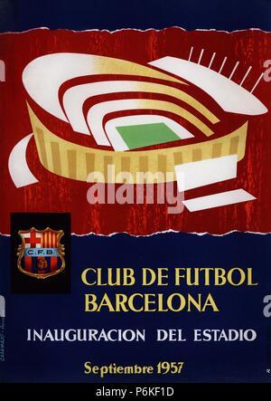 Cartel conmemorativo de la inauguración del estadio del Club de Fútbol Barcelona, 'Nou Camp', el 24 de septiembre de 1957. - Stock Photo
