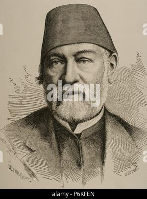 Auguste Mariette (1821-1881). French scholar, archaeologist and Egyptologist. Portrait. Engraving. - Stock Photo