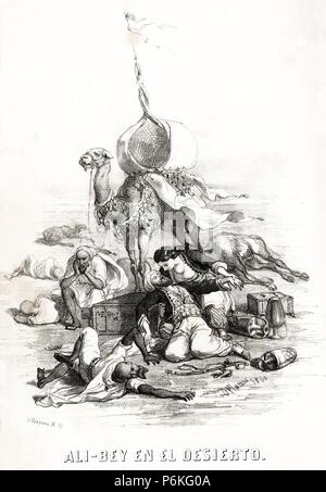 España. Domènec Badia Leblich (1766-1818), espía, aventurero y arabista catalán conocido como Ali-Bey el Abbassí, en el desierto. Grabado de 1860.