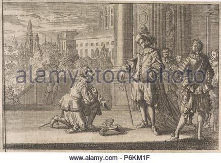 Charles IV, Duke of Lorraine kneels before Louis XIII, 1641, Johann David Zunnern. - Stock Photo