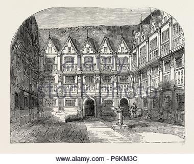 SIR THOMAS GRESHAM'S HOUSE IN BISHOPSGATE STREET, London, UK, 19th century engraving. - Stock Photo