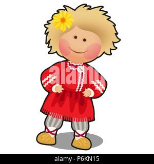 Rag doll in the form of a boy in Russian folk clothes isolated on white background. Vector cartoon close-up illustration. - Stock Photo
