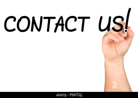 Male hand writing contact us text with black felt tip or marker on a clear glass whiteboard isolated - Stock Photo