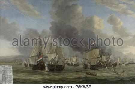 The Battle of Livorno, Reinier Nooms, 1653 - 1664. - Stock Photo