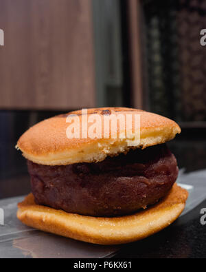 Japanese Pancake with Red Bean Filling, Adzuki Bean, Dorayaki - Stock Photo
