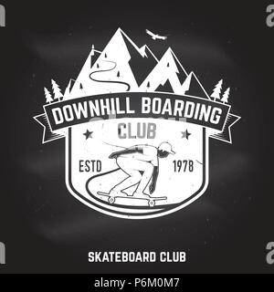 Downhill boarding club sign on the chalkboard. Vector illustration. Extreme sport. For skate club emblems, signs and t-shirt design. Skateboard typography design with skateboarder on the longboard and text. - Stock Photo