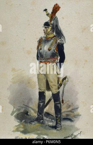 Napoleonic Wars. Cuirassier. French Army. Heavy cavalry. Engraving. 1806. - Stock Photo