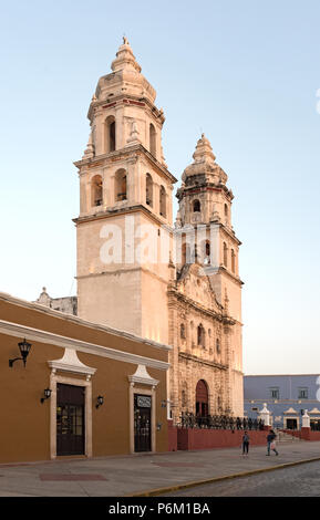 the san francisco de campeche cathedral in the evening light, mexico - Stock Photo