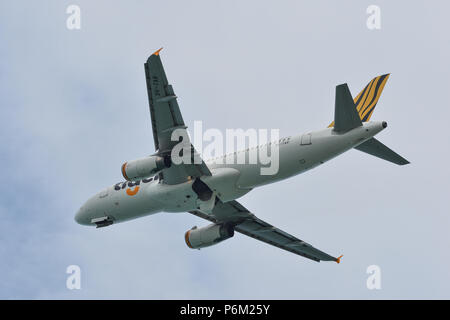 Phuket, Thailand - Apr 23, 2018. An Airbus A320 airplane of Scoot taking-off from Phuket International Airport (HKT). - Stock Photo