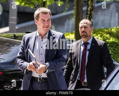 Munich, Bavaria, Germany. 1st July, 2018. Markus Soder (Söder) of the Bavarian CSU and Minister-President of the state. He has been controversial due to such moves as mandating crosses in all government offices including at universities. Credit: Sachelle Babbar/ZUMA Wire/Alamy Live News - Stock Photo