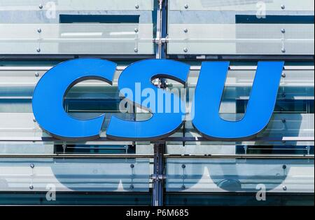 Munich, Bavaria, Germany. 1st July, 2018. Logo of the Bavarian CSU (Christlich Soziale Union), which is the right-conservative sister part of Angela Merkel's CDU. The party is led by Horst Seehofer and Markus Soder (Söder) Credit: Sachelle Babbar/ZUMA Wire/Alamy Live News - Stock Photo
