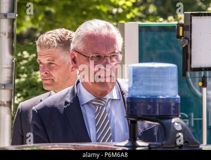 Munich, Bavaria, Germany. 1st July, 2018. Joachim Herrmann, Interior Minister (Innenminister) of Bavaria looking in the direction of a police beacon. Minister Herrmann is one of the figures behind the controversial Polizeiaufgabengesetz (Police Assignment Laws, PAG) that grant Bavarian Police powers not seen since the Gestapo in 1945. Credit: Sachelle Babbar/ZUMA Wire/Alamy Live News - Stock Photo