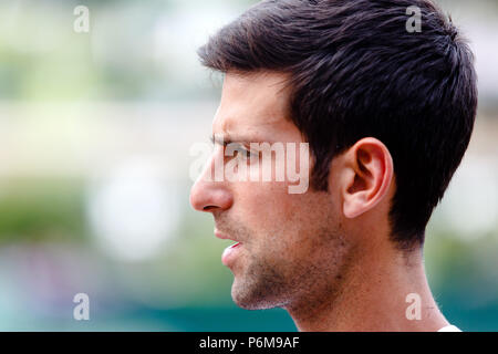 London, UK, 1st July 2018: Serbian tennis player Novak Djokovic before the start of the 2018 Wimbledon Tennis Championships at the All England Lawn Tennis and Croquet Club in London. Credit: Frank Molter/Alamy Live news - Stock Photo