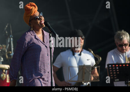 Glasgow, Scotland, UK. 1st July, 2018. Emeli Sande in concert at The Fiesta x Fold Festival, Credit: Stuart Westwood/Alamy Live News - Stock Photo