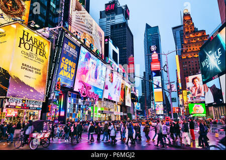 Times Square New York Lights Manhattan New York City - Stock Photo