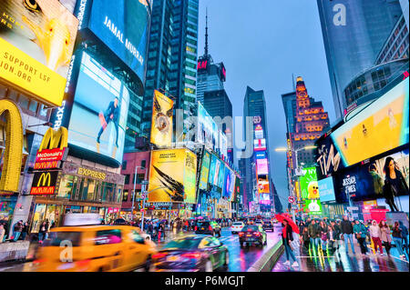 New York Times Square Lights Manhattan New York City - Stock Photo