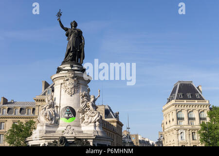View of the Marianne statue at the Place de la Republique in Paris, France - Stock Photo