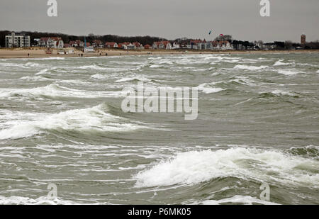 Warnemuende, waves on the Baltic Sea - Stock Photo