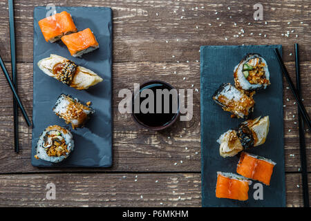 Japanese seafood sushi , rolls - Stock Photo