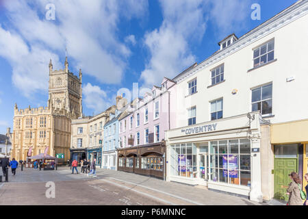 Cirencester town centre and Church of St. John the Baptist, Gloucestershire, England, UK - Stock Photo