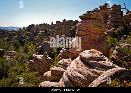 Rock formations in the Heart of Rocks area of Chiricahua National Monument in southeastern Arizona. - Stock Photo
