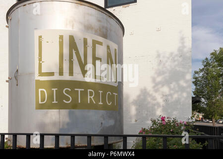 Linen District, Boise, Idaho, USA - June 5, 2018: Laundry Drum landmark outside the Linen Building Event Center, former American Laundry Building. - Stock Photo