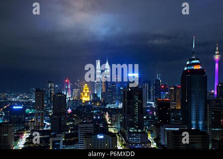 Night view of Kuala Lumpur skyline, capital city of Malaysia. - Stock Photo