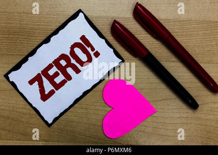 Text sign showing Zero Motivational Call. Conceptual photo The emptiness nothingness of something no value Love pure wood colour hart marker pens art  - Stock Photo