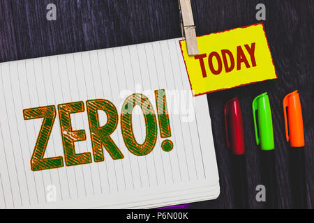 Handwriting text writing Zero Motivational Call. Concept meaning The emptiness nothingness of something no value Papers marker pens nice art daily cre - Stock Photo