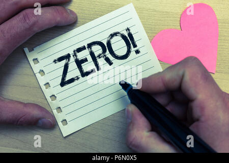 Text sign showing Zero Motivational Call. Conceptual photo The emptiness nothingness of something no value Wood nice love colour hart marker pen art w - Stock Photo