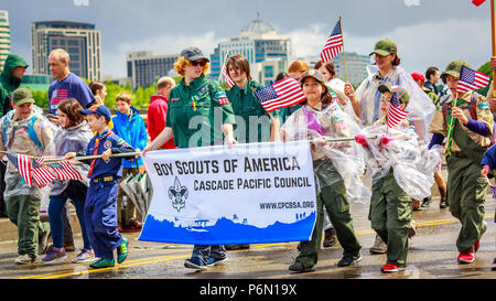 Portland, Oregon, USA - June 9, 2018: Boy Scouts of America in the Grand Floral Parade, during Portland Rose Festival 2018. - Stock Photo