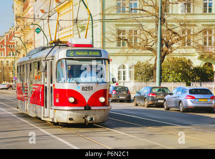 PRAGUE - APRIL 10:  Old fashioned tram on April 10, 2018 in Prague, Czech Republic. - Stock Photo
