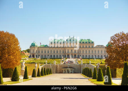 VIENNA - AUGUST 30: Belvedere palace on August 30, 2017 in Vienna, Austria. It's a historic building complex, consisting of two Baroque palaces, the O - Stock Photo