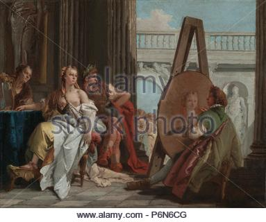 Alexander the Great and Campaspe in the Studio of Apelles; Giovanni Battista Tiepolo, Italian, 1696 - 1770; Italy, Europe; about 1740; Oil on canvas; Unframed: 42.5 x 54 cm (16 3/4 x 21 1/4 in.), Framed: 58.4 x 70.5 x 6 cm (23 x 27 3/4 x 2 3/8 in.). - Stock Photo