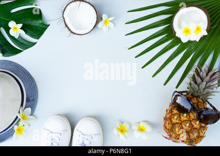 Summer flat lay scenery - Stock Photo