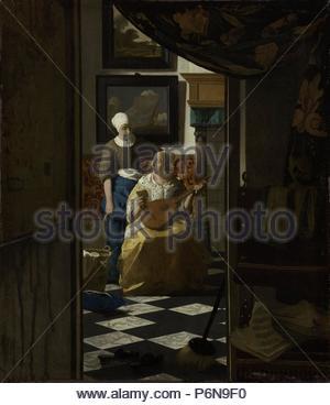 The Love Letter, Johannes Vermeer, c. 1669 - c. 1670. - Stock Photo