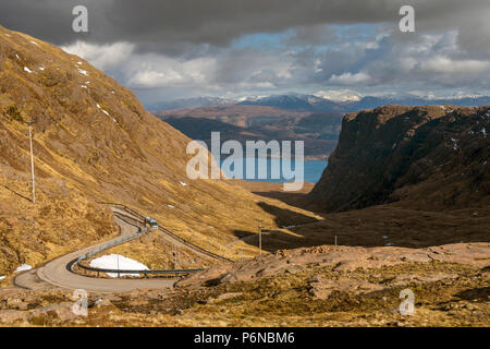 Looking down Coire na Bà to Loch Kishorn from near the summit of the Bealach na Bà road, in the Applecross hills, Highland Region, Scotland, UK - Stock Photo