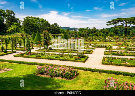 The spectacular Rose Garden within Parc de Bagatelle in Paris, France - Stock Photo