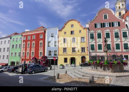 Austria Baroque Town of Scharding - Stock Photo